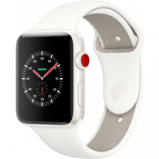 Apple Watch Series 3 42mm (GPS+LTE) White Ceramic Case with Soft White/Pebble Sport Band (MQKD2)