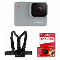 Видеокамера GoPro HERO7 White (CHDHB-601) + Крепление GoPro Chest Mount Harness (GCHM30-001) + Карта памяти на 32Gb