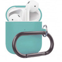 Чехол Wireless Silicone Case для Apple AirPods 2 with Carbine Turquoise