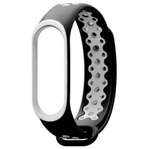 Купить Ремешок Strap для фитнес-браслета Xiaomi Mi Band 3/4 Black-White