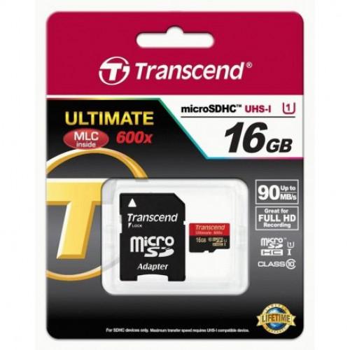 Купить Карта памяти Transcend microSDHC 16GB Class 10 UHS-I UltimateX600 + SD-adapter (TS16GUSDHC10U1)