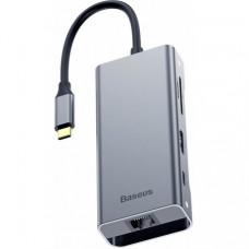 Адаптер Baseus Multi-functional Hub Type-C to USB3.0 2+HDMI 1+USB-C(PD) 1+RJ45 1+TF/SD (CATXF-0G)