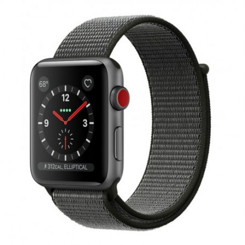 Купить Apple Watch Series 3 42mm (GPS+LTE) Space Gray Aluminum Case with Dark Olive Sport Loop (MQK62)