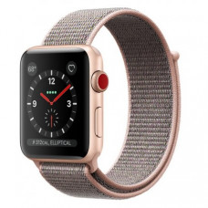 Apple Watch Series 3 38mm (GPS+LTE) Gold Aluminum Case with Pink Sand Sport Loop (MQJU2)