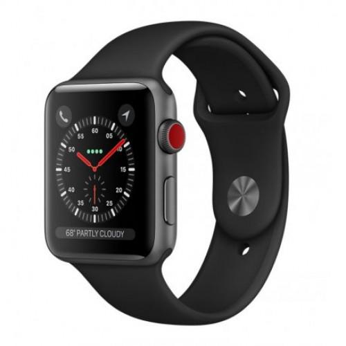 Купить Apple Watch Series 3 38mm (GPS+LTE) Space Gray Aluminum Case with Black Sport Band (MQJP2)